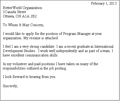 Cover Letter Without Specific Position from charityvillage.com